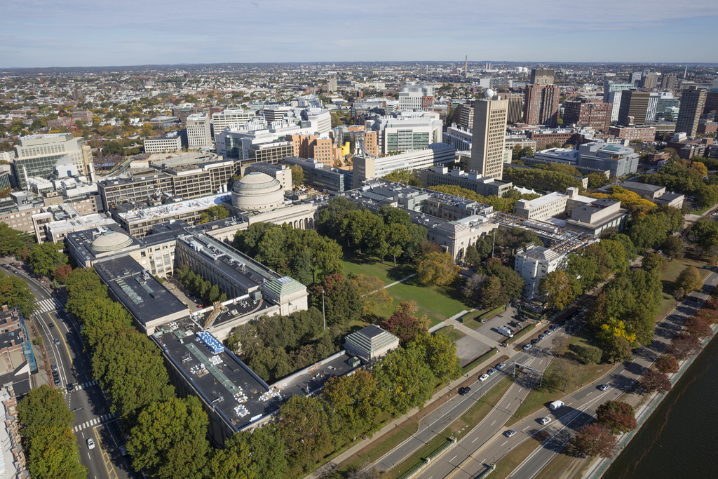 Aerial view of campus; Above Summit with Christopher Harting