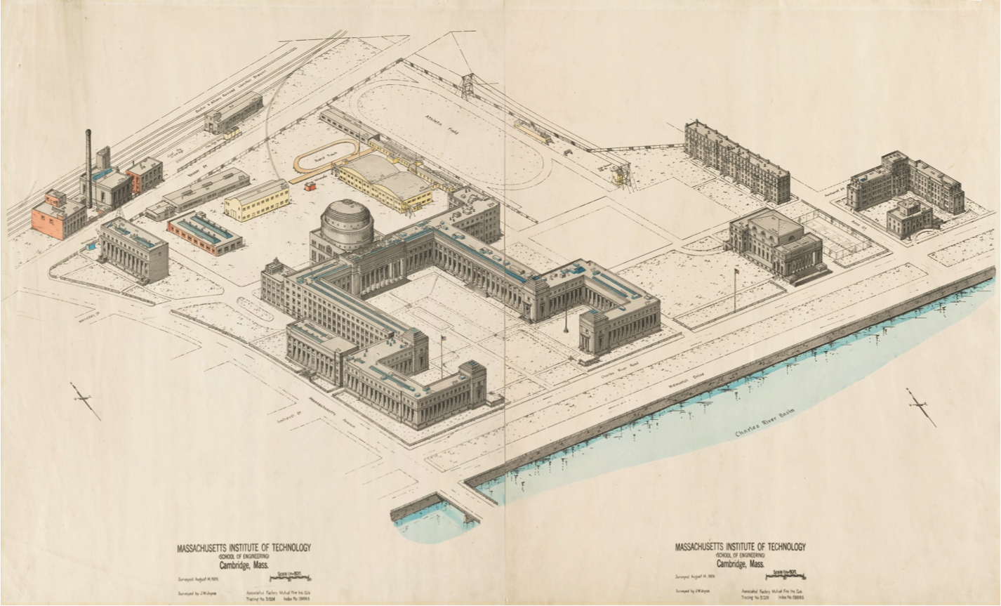Drawing of MIT's Central Utilities Plant (CUP) in 1929