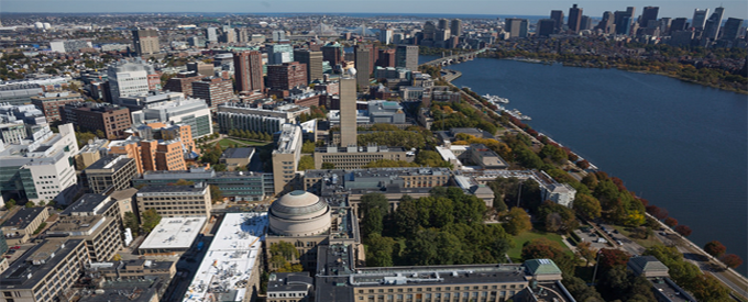 MIT Campus on the riverside; photograph by AboveSummit with Christopher Harting