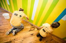 Volunteers painting