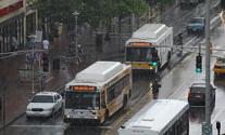 Two MBTA 1 buses in the rain