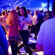 Students dancing at Happy Days party at MIT