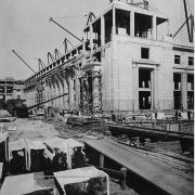 Construction of Building 8, looking north; photo courtesy of the MIT Museum