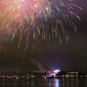 Fireworks from Boston vantage point