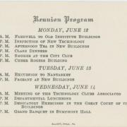 1916 Reunion program schedule; image courtesy of the MIT Museum